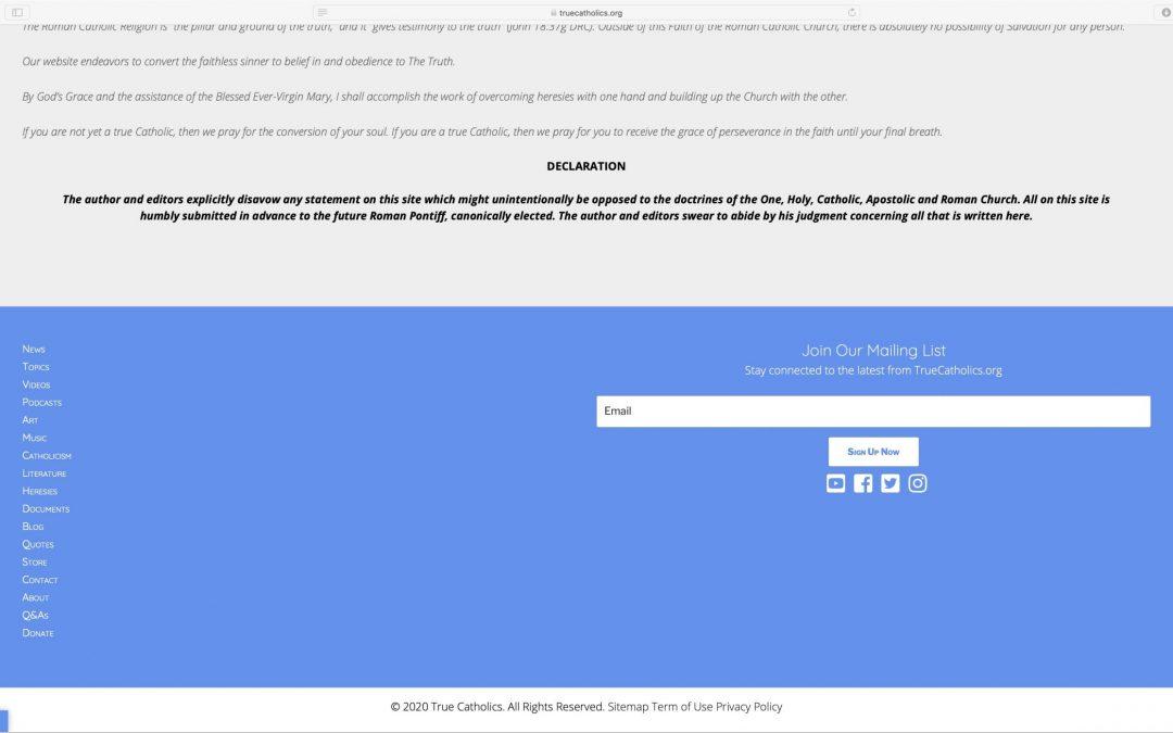 """TrueCatholics"" site promotes Feeneyite heresy"